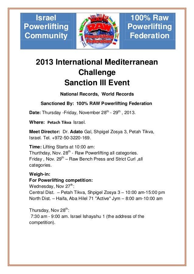 Israel Powerlifting Community  100% Raw Powerlifting Federation  2013 International Mediterranean Challenge Sanction III E...
