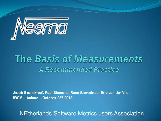 Basis of Measurement - A recommended practice