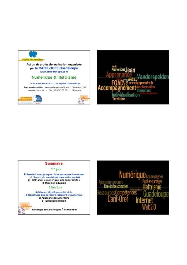 Action de professionnalisation organisée par le CARIF-OREF Guadeloupe www.carif-oref-gpe.com  Numérique & illettrisme 19 e...