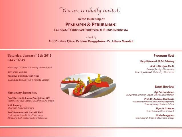 "Book Launching ""Pemimpin dan Perubahan"" Invitation"