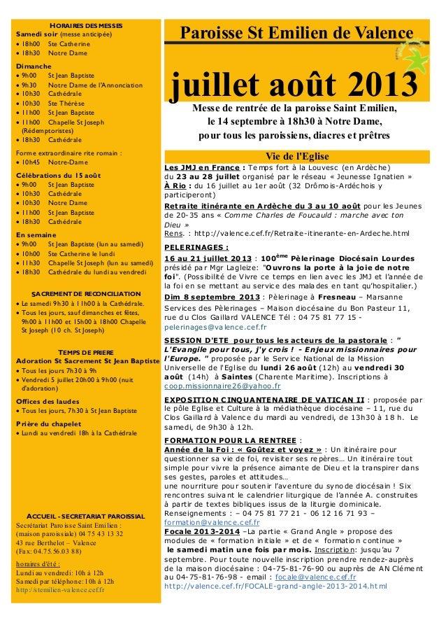 Messe de rentrée de la paroisse Saint Emilien, le 14 septembre à 18h30 à Notre Dame, pour tous les paroissiens, diacres et...