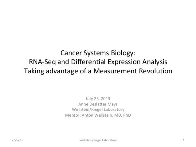 Cancer	   Systems	   Biology:	    RNA-­‐Seq	   and	   Differen;al	   Expression	   Analysis	    Taking	   advantage	   of	 ...