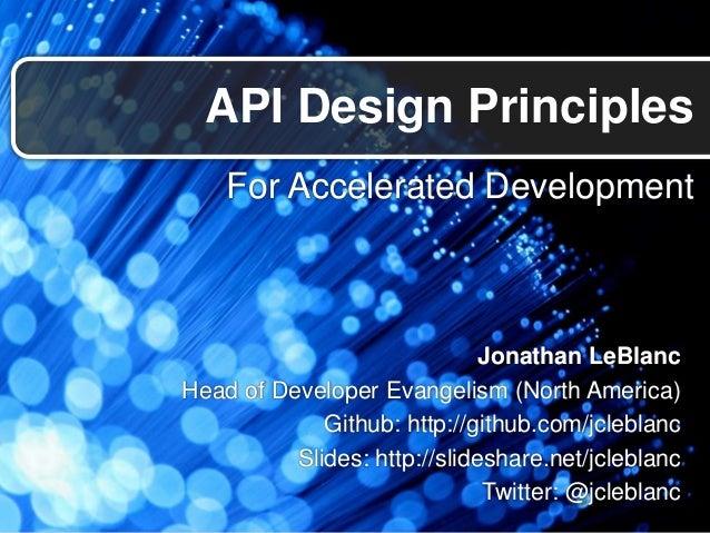 API Design Principles for Accelerated Development