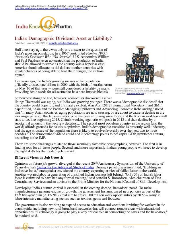 Indias Demographic Dividend: Asset or Liability?: India Knowledge@Wharton(http://knowledge.wharton.upenn.edu/india/article...