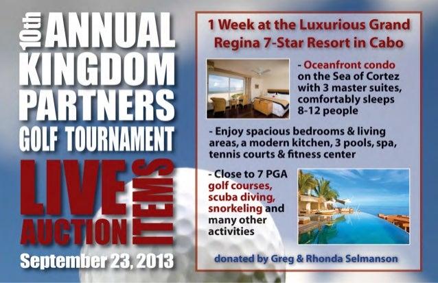 2013 Kingdom Partner Golf Tournament Auction Booklet