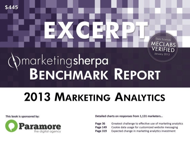 Free Excerpt from the 2013 Marketing Analytics Benchmark Report