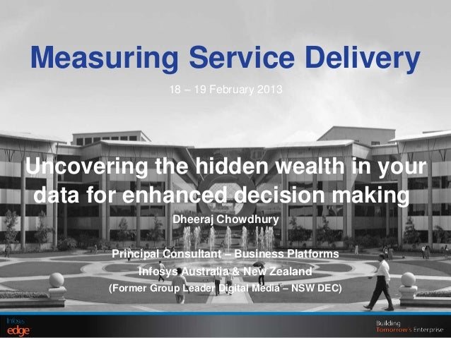 Measuring Service Delivery18 – 19 February 2013Uncovering the hidden wealth in yourdata for enhanced decision makingDheera...