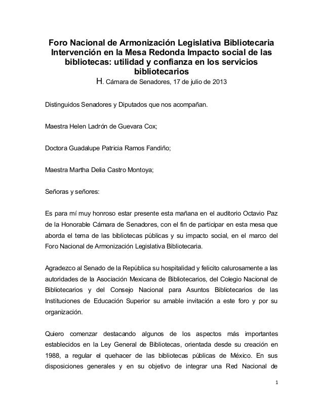 Foro Nacional de Armonización Legislativa Bibliotecaria Intervención en la Mesa Redonda Impacto social de las bibliotecas:...
