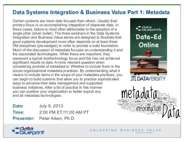 Data-Ed: Data Systems Integration & Business Value PT. 1: Metadata