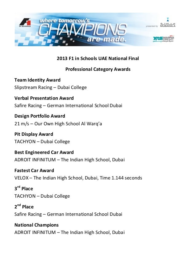 2013 F1 in Schools UAE National FinalProfessional Category AwardsTeam Identity AwardSlipstream Racing – Dubai CollegeVerba...