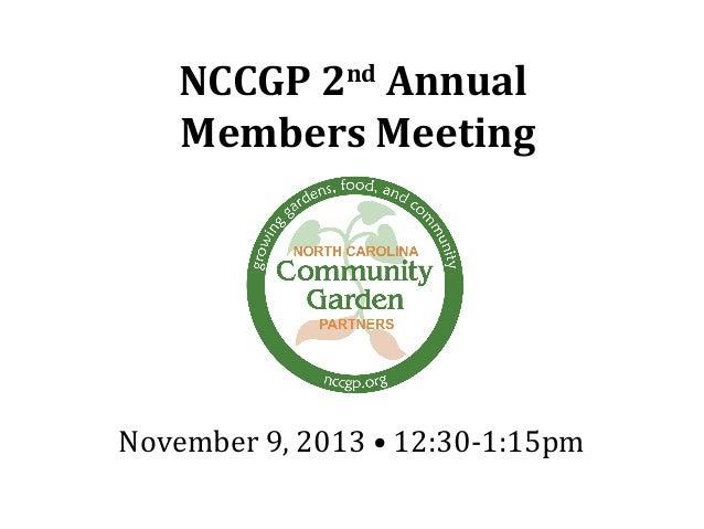 2013 NCCGP Annual Members Meeting