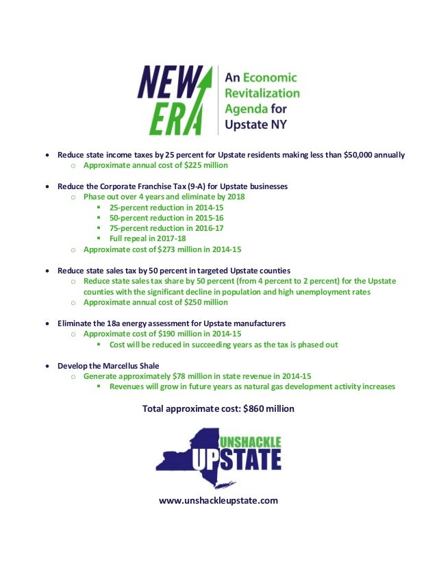  Reduce state income taxes by 25 percent for Upstate residents making less than $50,000 annually o Approximate annual cos...