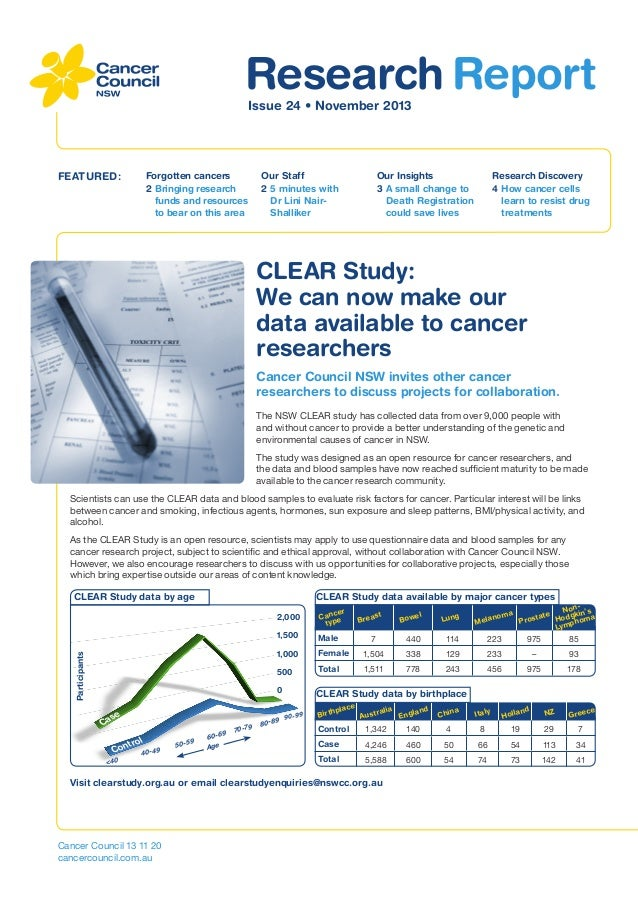 Cancer Council NSW Research Report Newsletter - November 2013
