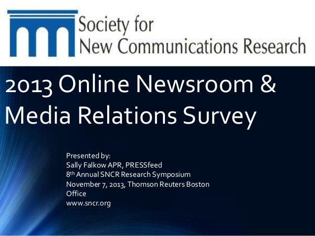 PRESSFeed 2013 Online Newsroom & Media Relations Report