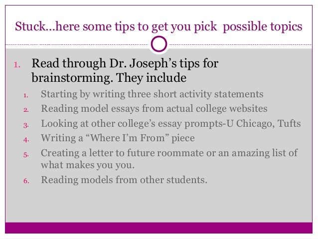 possible college essay topics