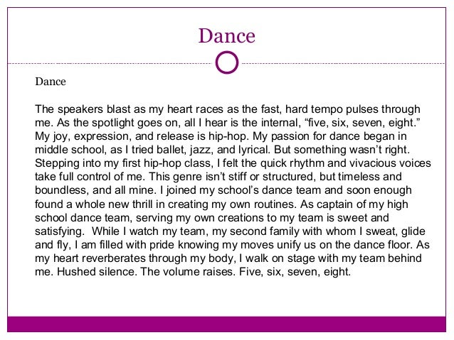 good college essays about dance