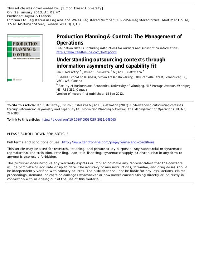 Understanding outsourcing contexts through information asymmetry and capability fit