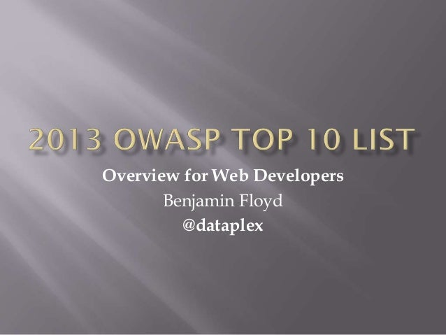 OWASP Top 10 List Overview for Web Developers