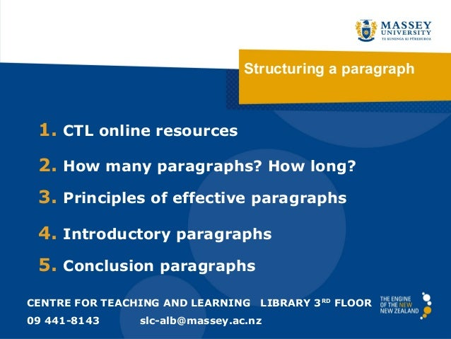 Structuring a paragraph 1. CTL online resources 2. How many paragraphs? How long? 3. Principles of effective paragraphs 4....
