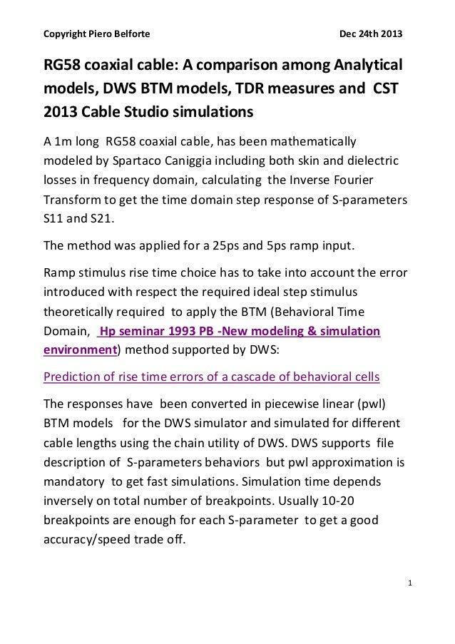 Copyright Piero Belforte  Dec 24th 2013  RG58 coaxial cable: A comparison among Analytical models, DWS BTM models, TDR mea...
