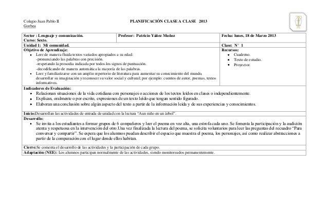 Colegio Juan Pablo II                                            PLANIFICACIÓN CLASE A CLASE 2013GorbeaSector : Lenguaje y...
