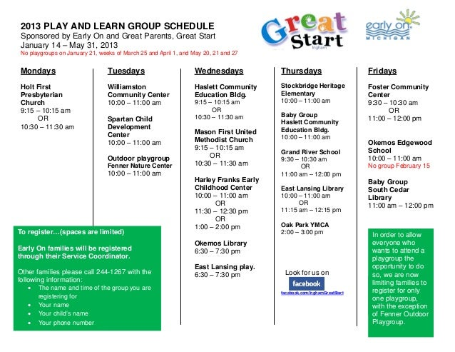 2013 PLAY AND LEARN GROUP SCHEDULE Sponsored by Early On and Great Parents, Great Start January 14 – May 31, 2013 No playg...
