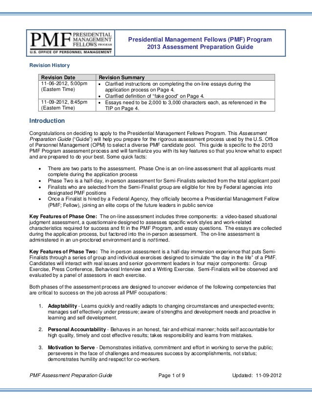 2013 PMF Assessment Preparation Guide 10-18-12