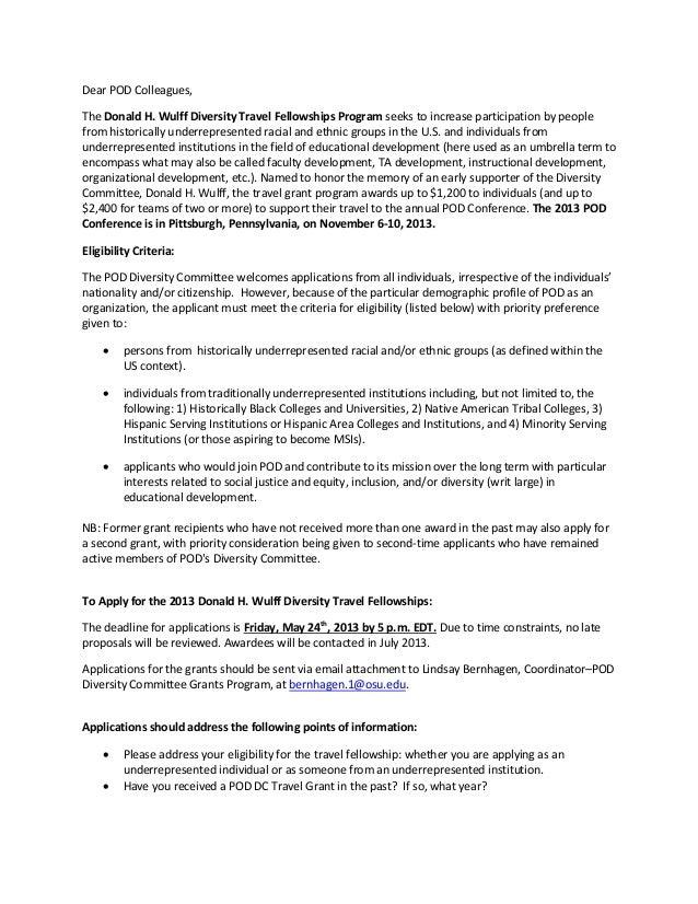 2013 pod travel fellowship announcement final