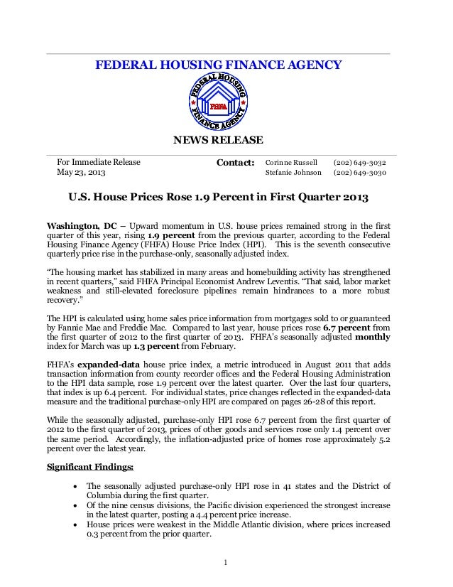 FEDERAL HOUSING FINANCE AGENCY NEWS RELEASE For Immediate Release Contact: Corinne Russell (202) 649-3032 May 23, 2013 Ste...