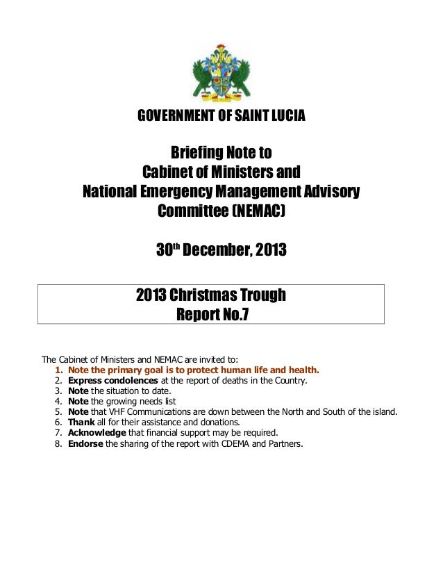 GOVERNMENT OF SAINT LUCIA  Briefing Note to Cabinet of Ministers and National Emergency Management Advisory Committee (NEM...
