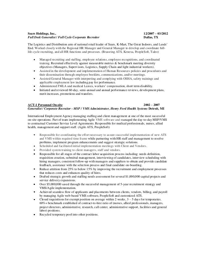 Distribution recruiter resume