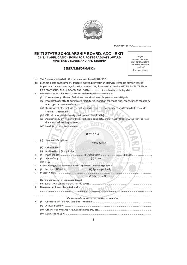 2013 Scholarship Application Form for Masters Degree and PhD Nigeria
