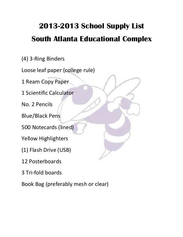 High School Supplies List For 9th Grade 2013 school supply list