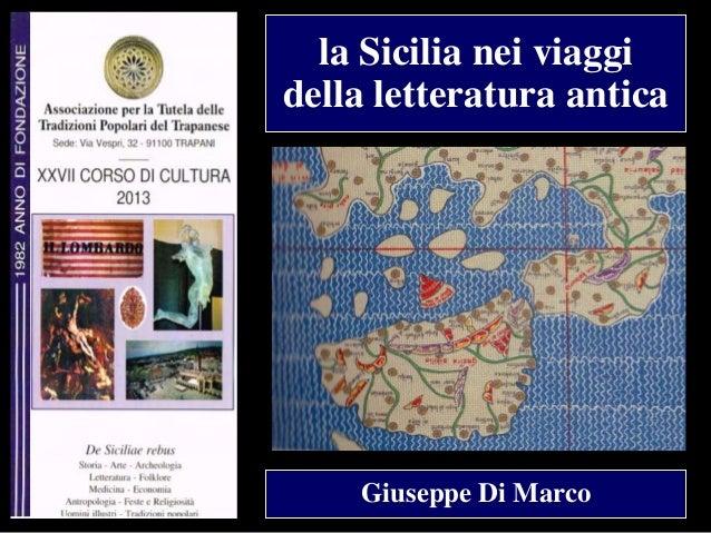 la Sicilia nei viaggi della letteratura antica  Giuseppe Di Marco