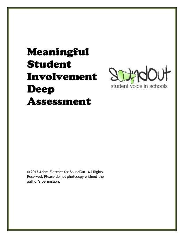 Meaningful  Student  Involvement Deep Assessment