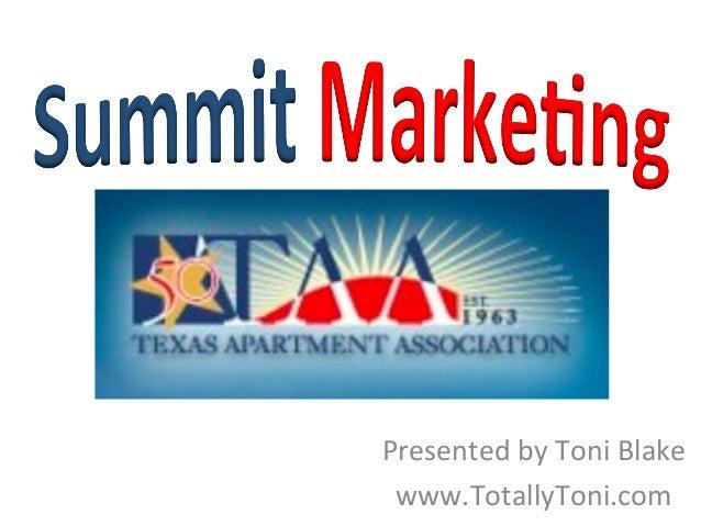 2013 TAA Summit Marketing
