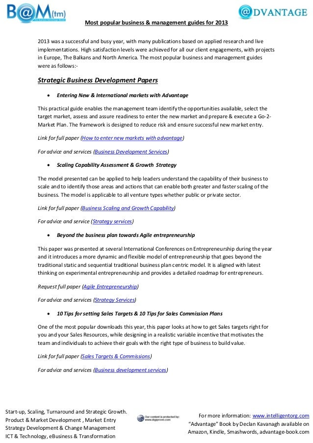 Most popular business & management guides for 2013 2013 was a successful and busy year, with many publications based on ap...