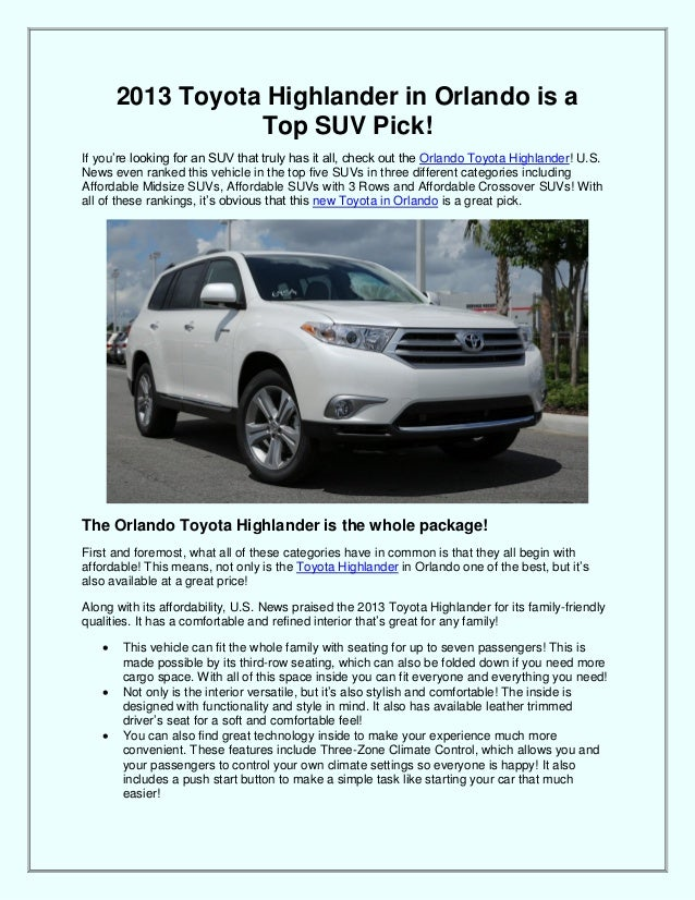 2013 Toyota Highlander in Orlando is a Top SUV Pick! If you're looking for an SUV that truly has it all, check out the Orl...