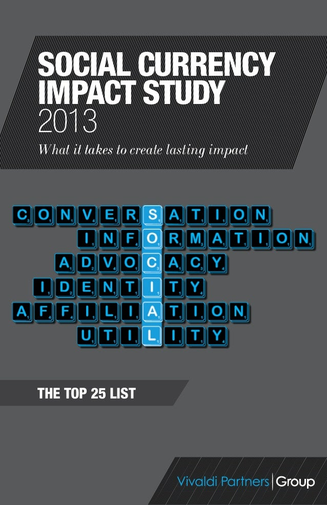 The Top 25 ListWhat it takes to create lasting impactSocial currencyimpact study2013