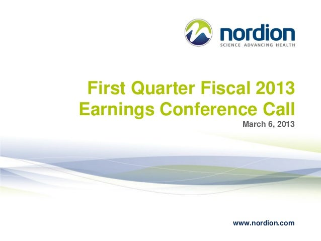 Nordion First Quarter Fiscal 2013