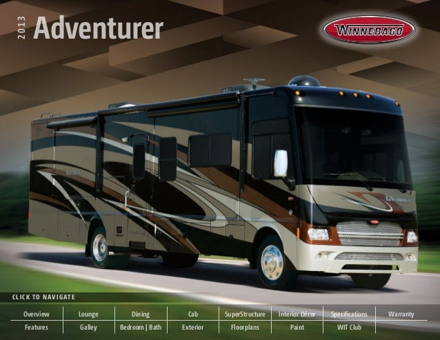2013   Adventurer  2013          AdventurerC l i c k t o N av i g at e       Overview               Lounge       Dining   ...