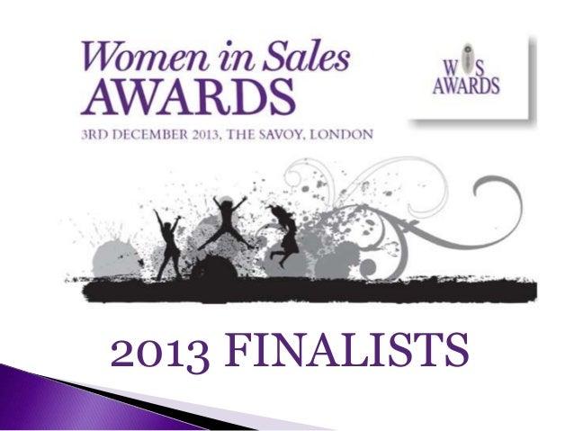 Women In Sales Awards - 2013 Finalists