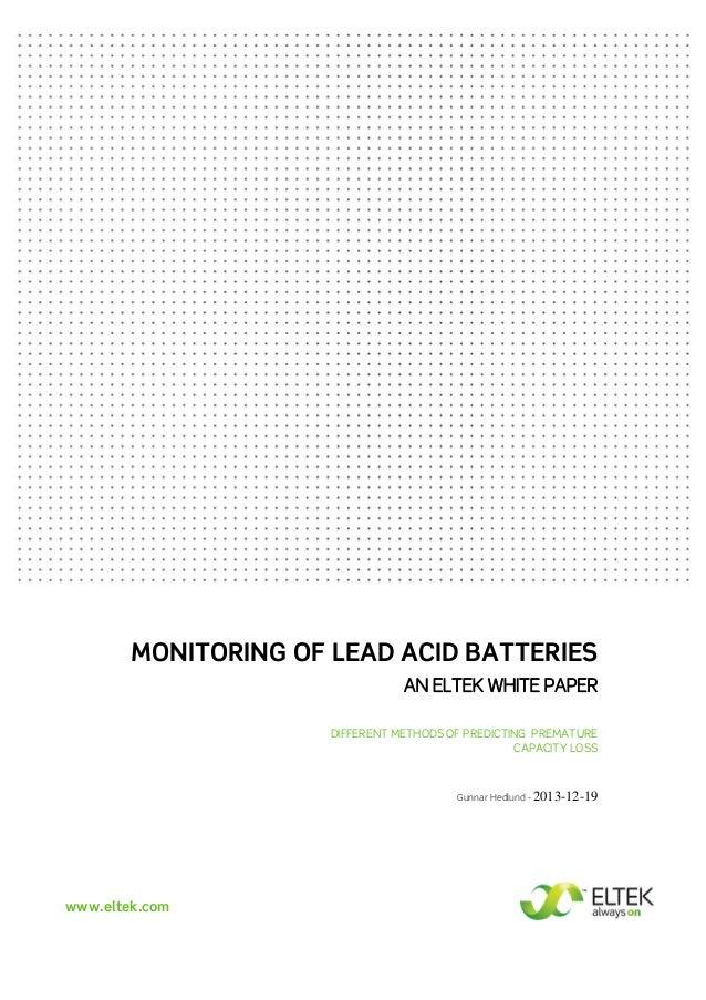 Monitoring of Lead Acid Batteries - an Eltek White Paper