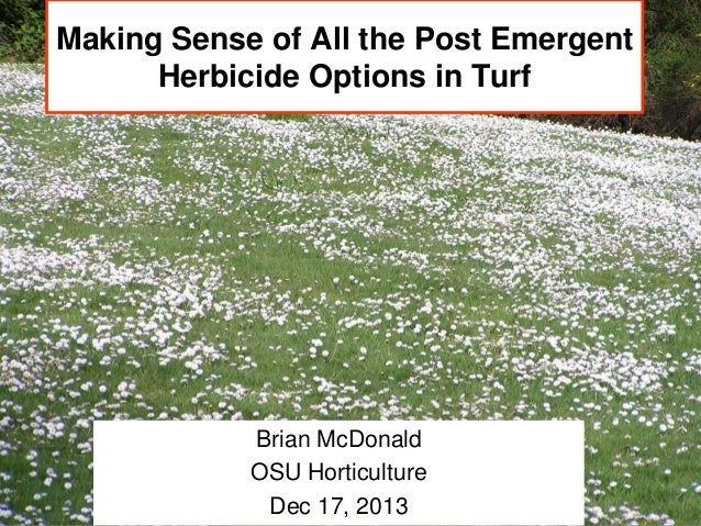 Making Sense of All the Post Emergent Herbicide Options in Turf  Brian McDonald OSU Horticulture Dec 17, 2013