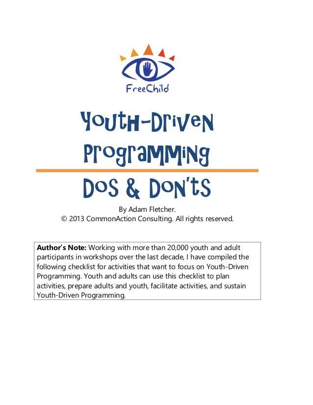 Youth-Driven Programming Dos and Don'ts