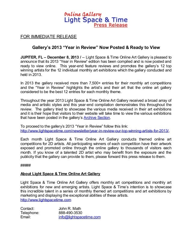 """FOR IMMEDIATE RELEASE Gallery's 2013 """"Year in Review"""" Now Posted & Ready to View JUPITER, FL – December 8, 2013 / -- Light..."""