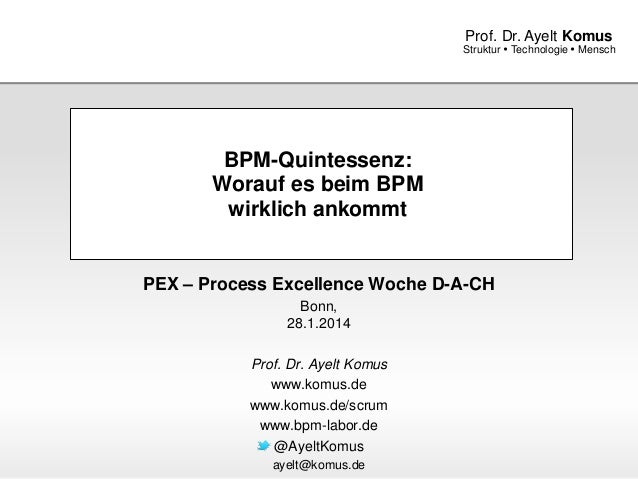 www.komus.de Struktur  Technologie  Mensch Prof. Dr. Ayelt Komus BPM-Quintessenz: Worauf es beim BPM wirklich ankommt PE...