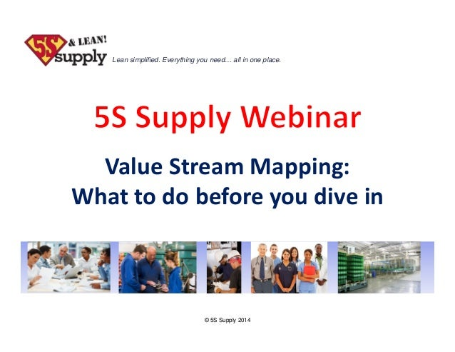 Lean simplified. Everything you need… all in one place.  ValueStreamMapping: Whattodobeforeyoudivein  © 5S Supply ...