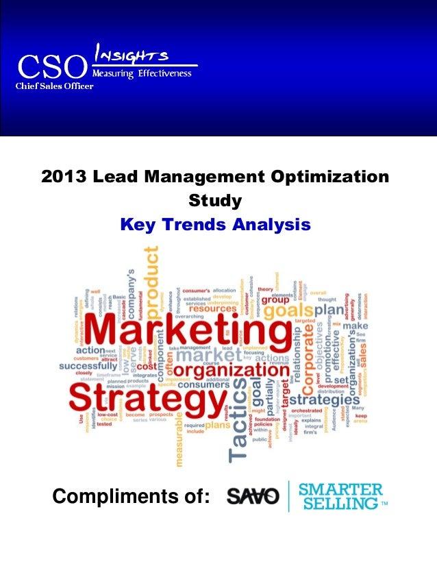 2013 Lead Management Optimization Study