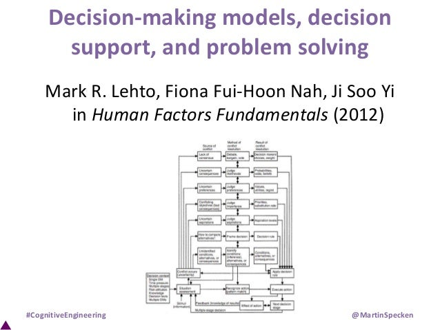 Decision-making models, decision support, and problem solving Mark R. Lehto, Fiona Fui-Hoon Nah, Ji Soo Yi in Human Factor...
